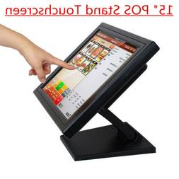 """15"""" LCD Touch Screen Monitor TFT POS Stand Restaurant Cafe R"""