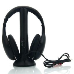 5 In 1 Wireless Headphones For MP3 PC TV Black With FM Radio