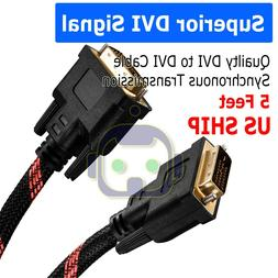 DVI to DVI Cable Gold Plated Monitor Nylon Braided Cable Ada