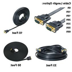 Flat VGA SVGA Monitor Cable 6 10 15 25 50 65 ft Male to Male