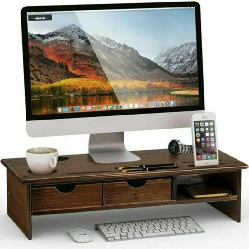 bamboo computer monitor laptop stand riser monitor