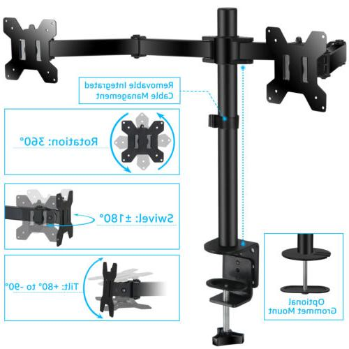 Ergonomic Dual Adjustable Steel Arm Monitor Double Arm Fits