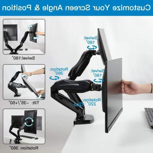 Dual Monitor Height Gas Desk VESA up to